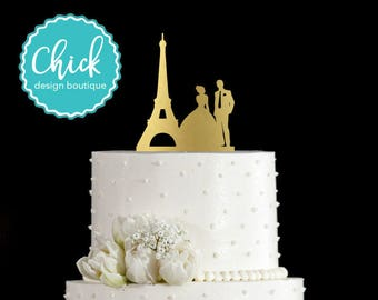 Paris Couple with Eiffel Tower, French Wedding Cake Topper Hand Painted in Metallic Paint