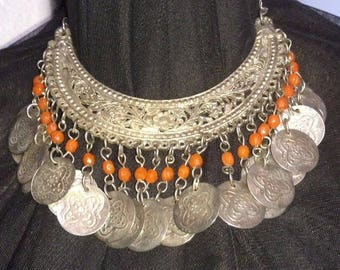 Vintage Coin Belly Dance Choker Necklace~Large Coins~Orange Beads~Sacred Dance~Ritual Dance