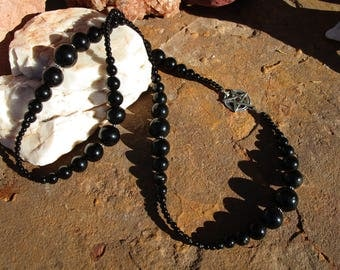 Black Obsidian and Onyx Pentacle Necklace~All Black and Sterling Silver~High Priestess~Dark Goddess Necklace