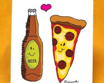 Beer & Pizza Blank Greeting Card w/ Astro Bright Envelope