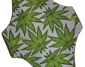 Moderate Hemp Core- Marijuana on White Reusable Cloth Maxi Pad- WindPro Fleece- 10 Inches (25.5 cm)