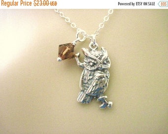 ON SALE Sterling Silver Owl Necklace