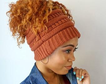 Messy Bun Beanie, Chunky High Puff Beanie, Afro Puff Beanie, Half hat Ponytail Beanie, Knit Messy Bun Beanie - Rust or choose Color