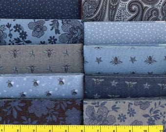 "Country Blue, Gray & Black Jelly Roll 40 - 2.5"" Strips Quilting Fabric"