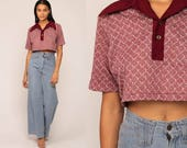 Crop Top 70s Shirt Button Up Blouse Polo Shirt Short Sleeve Checkered Cropped Shirt 1970s Burgundy Half Button Vintage Medium