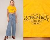 Graphic Shirt ROSEWATER MEDICINE SHOW 80s Crop Top Slogan Tshirt Retro Tee Cropped T Shirt Vintage 1980s Yellow Tshirt Extra Small xs