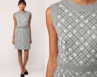 Mod Mini Dress 70s Plaid METALLIC Silver Grey Checkered 60s Preppy Sleeveless Checkered Print High Waisted Vintage Boho Retro Medium