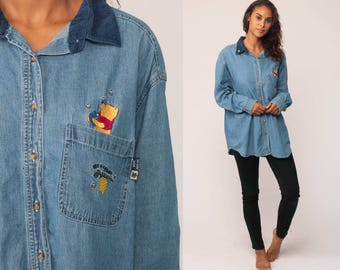 Disney Shirt Denim Shirt WINNIE THE POOH Button Up Vintage Long Sleeve 90s Grunge Jean Shirt Hipster Blue Oversized Extra Large xl