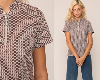 70s Shirt Mod Top ZIP UP Blouse Geometric Print Hippie Boho Twiggy Short Sleeve Brown Bohemian Vintage 1970s Shirt Medium