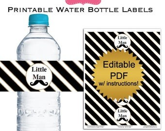 DIY editable printable water bottle labels PDF (No.58) mustache black and gold baby shower favors Digital File