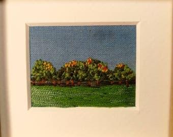 Handmade framed mini landscape tree embroidery - homeware