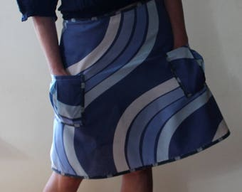 Wrap Skirt, recycled fabric, blue, retro (one size fits most small - large) with pockets.