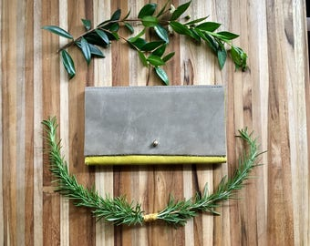 Leather iPhone Wallet - The Rustic Lupe in Chartreuse & Grey