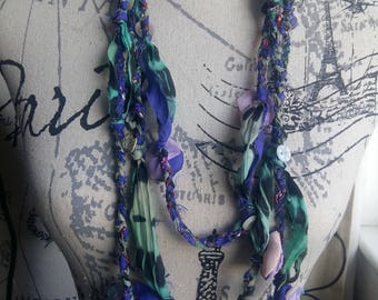 Textile Art  Necklace One of a Kind