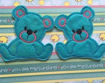Set of Two Blue Felt Teddy Bear Applique 4X4 Right and Left Head Tilt