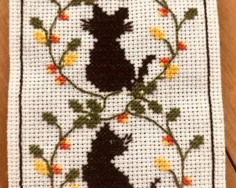 Handmade Cross Stitched Black Cats Bookmark