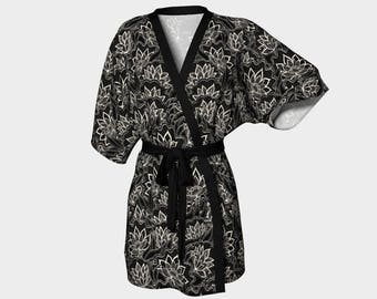 Lotus (Floral Pattern - three colors) - Kimono Robe - Death's Amore Clothing