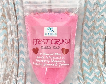 FIRST CRUSH BuBBle Salt, Strawberry, Raspberry, Mandarin, Jasmine & Gardenia Bubble Bath, Mineral Salt Bath, Pink Bath 7 oz