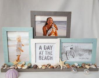 Beach Decor Collage Frame, Nautical Decor Picture Frame - Seashell Frame w 4 Photos