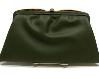 Vintage Clutch Purse Dark Green Clutch Bag Vintage Leather Clutch Retro Clutch