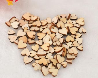 100 pcs Rustic Wood Wooden Love Heart Wedding Table Scatter Decoration Crafts DIY Decorative Party Supplies