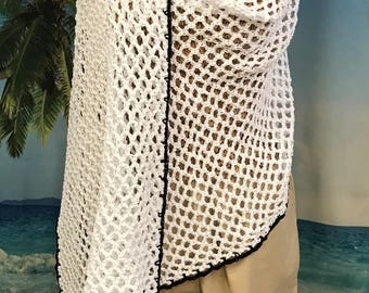 Sarong, Swim Coverup, Shawl, Ladies Wrap,  Swimming Coverup, White Summer Wrap