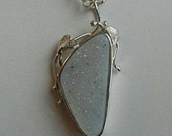 Sterling Silver and Natural White Drusy Necklace