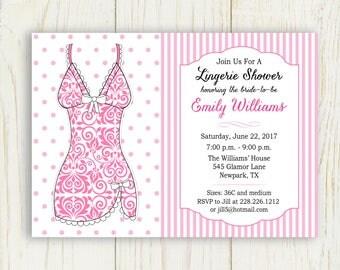 Lingerie Bridal Shower Invitation - digital file