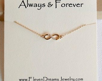 """Gold and Cubic Zirconia """"Always & Forever"""" Carded Infinity Necklace ."""