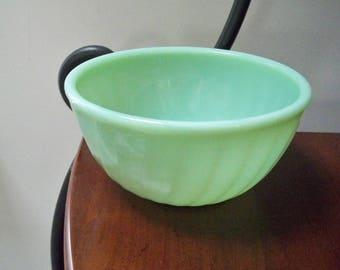Vintage Kitchen Serving Mixing Bowl Jadite Green Ribbed Fire King Bowl Retro Kitchen
