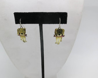 Cute dog earrings Pierced Brass