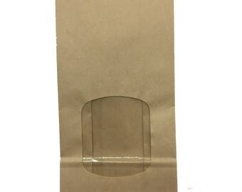 Free US Shipping Large One Pound Brown Paper Lined Tin Tie Bags with Window - Food Safe - 4.75 X 2.5 X 9.5 Inches
