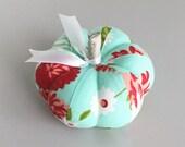 Red and Aqua Floral Pumpkin Pincushion Floral Pumpkin Pin Keep