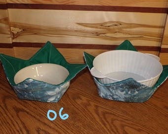 BCZY-06-07-08-09-10) Microwavable BOWL COZIES , 1 set with 2 bowl cozies , several to choose from