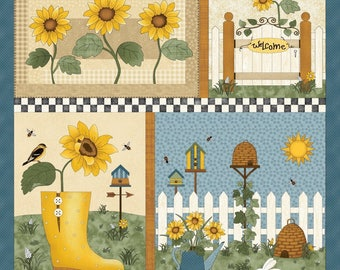 NEW Sunshine Garden Sunflower Quilt Fabric 100% Cotton Fabric Panel
