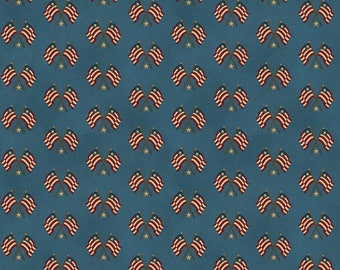 NEW Liberty Hill Quilt Fabric 100% Cotton Americana  Over One Yard Cut of Coordinating Blue Flags