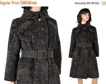 ON SALE Vintage Princess Trench Coat Sz M Dark Brown Faux Persian Lamb Fur Winter Jacket