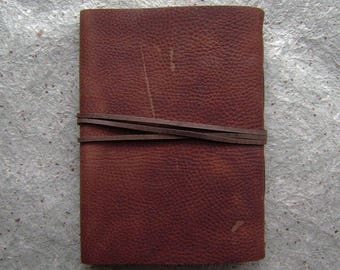 "Rugged distressed leather journal, 5.5""x 7.5"", leather sketchbook, travel journal  (2632)"