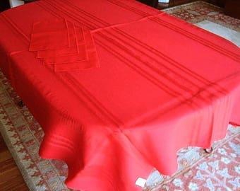 Tablecloth Vintage RED Cutwork Lace Hemstitched Drawnwork Stripes & 4 Napkins