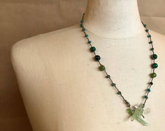 Woven beaded 'gratitude' necklace, sterling silver, green quartz crystal, jade, malachite, turquoise