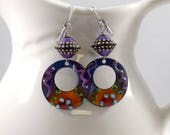 Dotted Purple Handmade Earrings, Enameled Earrings, Antique Silver Earrings, Round Earrings, Artisan Earrings, Purple Earrings, OOAK, AE176