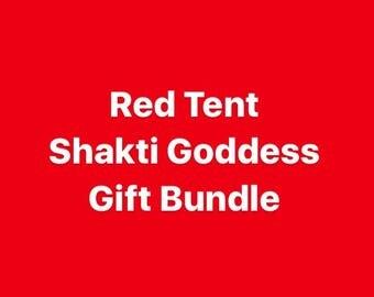 RISING SHAKTI GODDESS Giftset Full Size Red Tent, Yoni Steam, Vanilla Cardamom Oil, Chrysocolla Tumbled Stone, Cramp Relief Roll On Oil