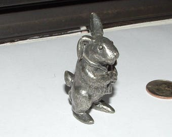 1975 vintage SIGNED peter rabbit- in pewter- GAIT artist-  holding cane- so adorable
