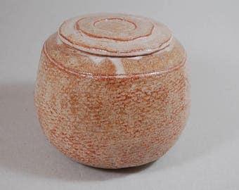 Covered jar with Shino glaze