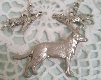 dog earrings and brooch, silver dog earrings, wolf earrings, BEAUTIFUL trio, dog jewellery, dog owner gift