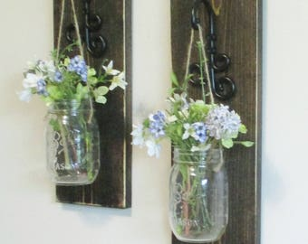 New Larger Rustic Farmhouse Wood Wall Decor...Set of 2 or 3 Individual Hanging Mason Jar Sconces on Stained Boards.