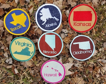 Custom State Embroidered Patch, Ornament, or Magnet Handmade in the USA Pick your colors! Any state!