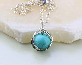Turquoise Gemstone Necklace, Genuine Turquoise Pendant, Sterling Silver Necklace, Turquoise Necklace, December Birthstone, Hubei Turquoise
