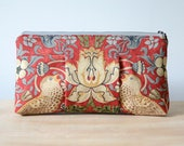 Sophie clutch: Red with floral and bird print