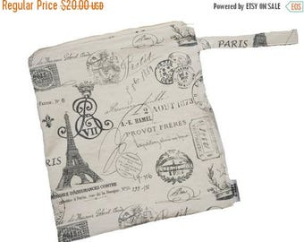 On Sale 14x14 Sweet Bobbins  Wet Bag - Paris Postcards - SEAM SEALED - Boutique Quality
